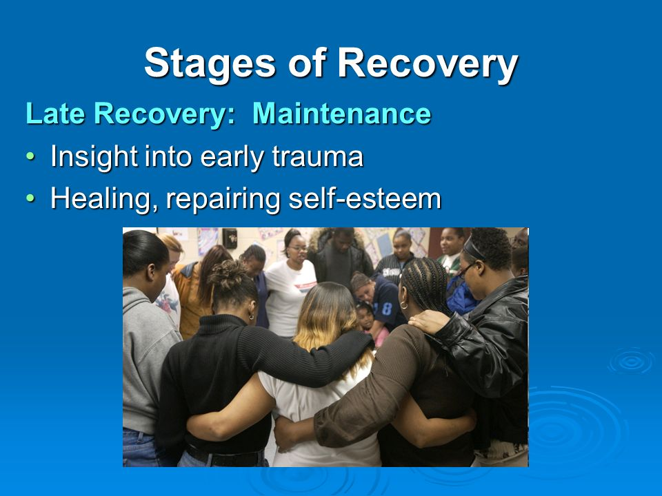 Stages of Recovery Late Recovery: Maintenance