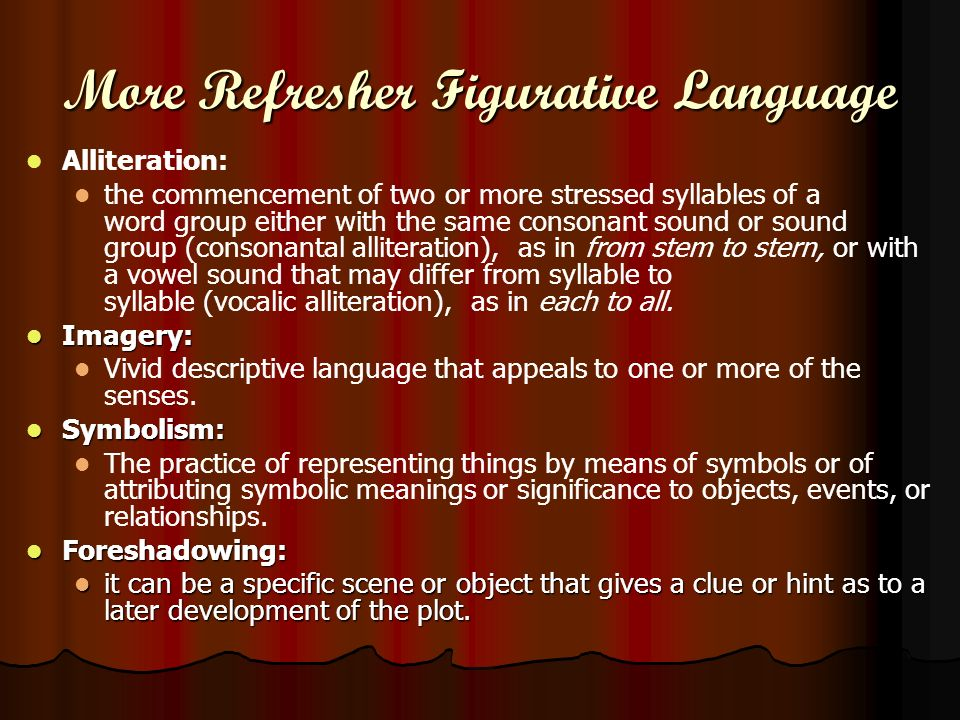 More Refresher Figurative Language