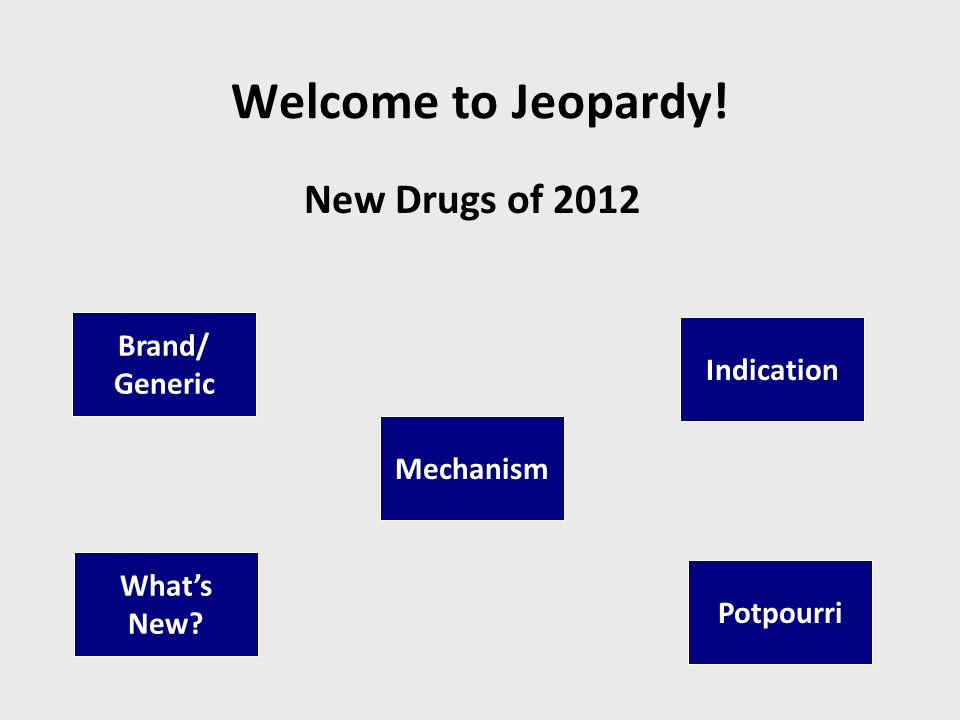 Welcome to Jeopardy! New Drugs of 2012 Brand/ Generic Indication