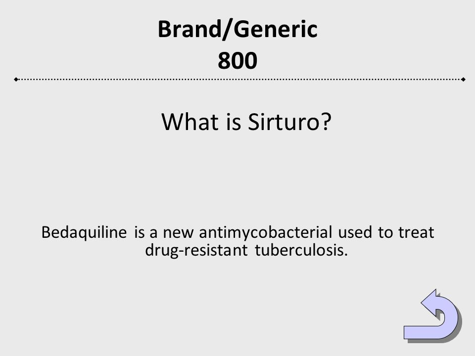 Brand/Generic 800 What is Sirturo