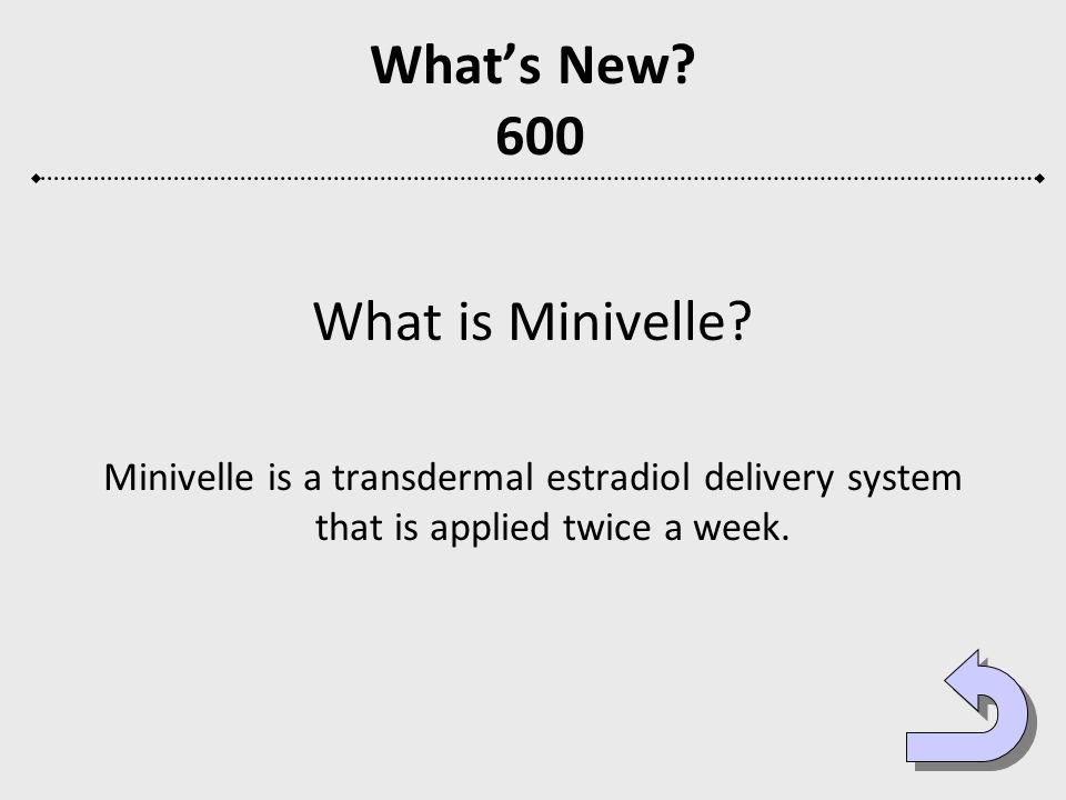 What's New 600 What is Minivelle