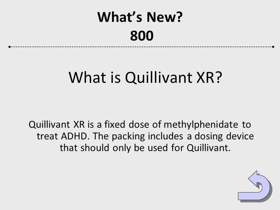 What is Quillivant XR What's New 800