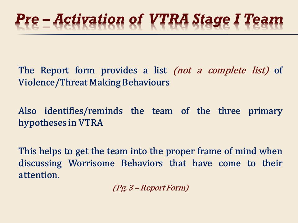 Pre – Activation of VTRA Stage I Team
