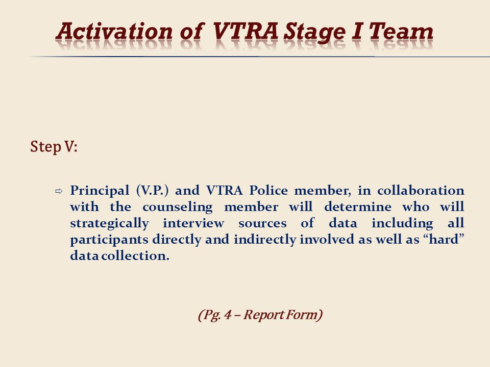 Activation of VTRA Stage I Team