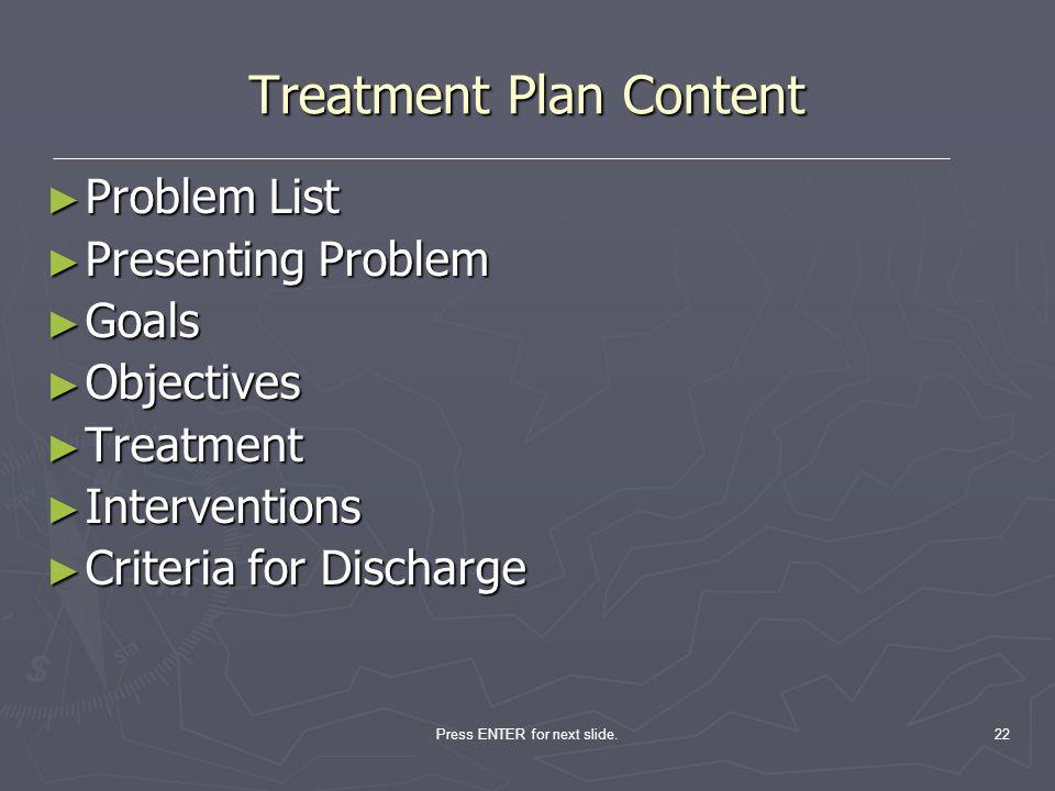 Treatment Plan Content
