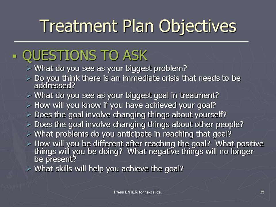 Treatment Plan Objectives