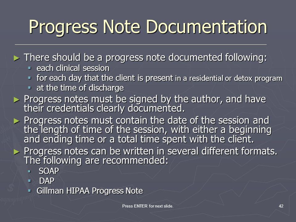 Progress Note Documentation