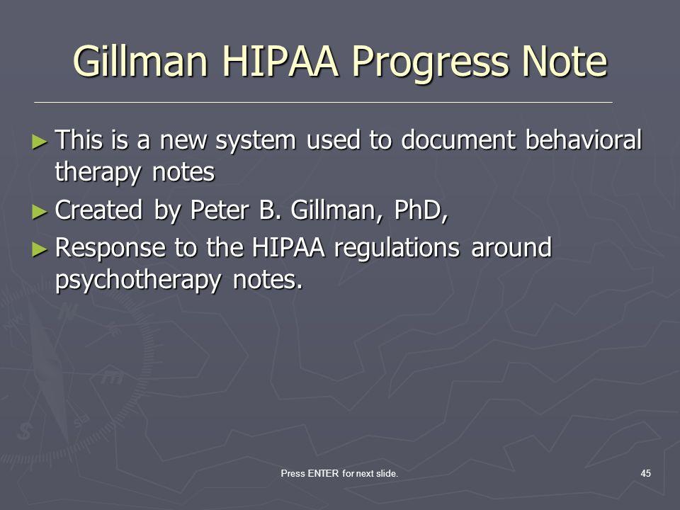Gillman HIPAA Progress Note