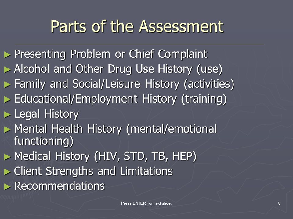 Parts of the Assessment