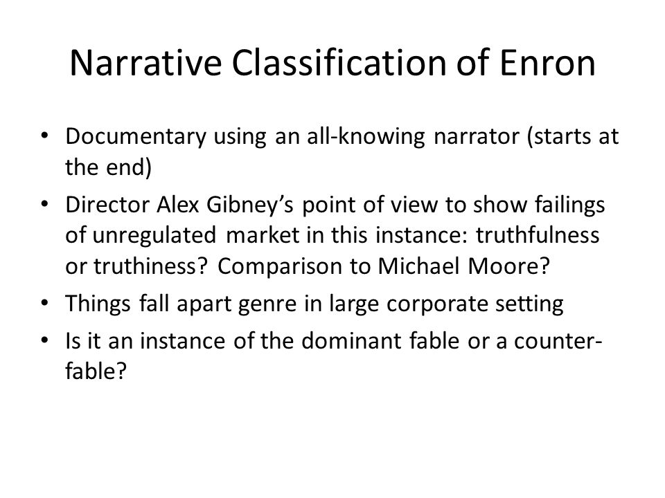 Narrative Classification of Enron