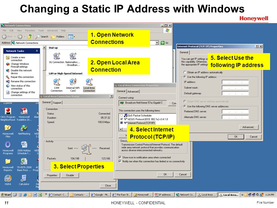 Changing a Static IP Address with Windows