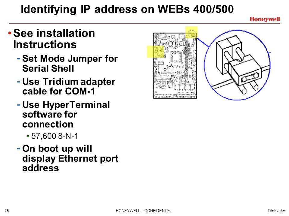 Identifying IP address on WEBs 400/500