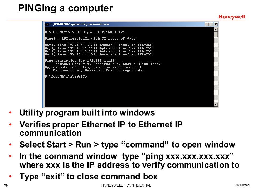 PINGing a computer Utility program built into windows
