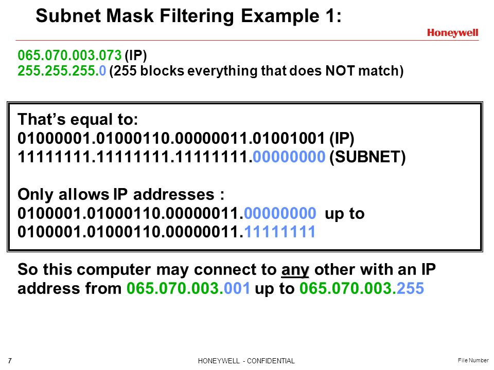 Subnet Mask Filtering Example 1: