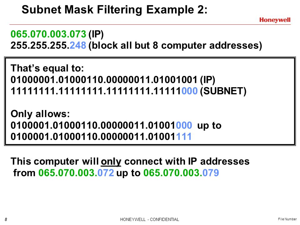 Subnet Mask Filtering Example 2: