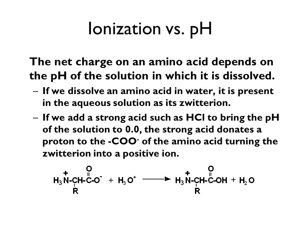 Ionization vs. pH The net charge on an amino acid depends on the pH of the solution in which it is dissolved.