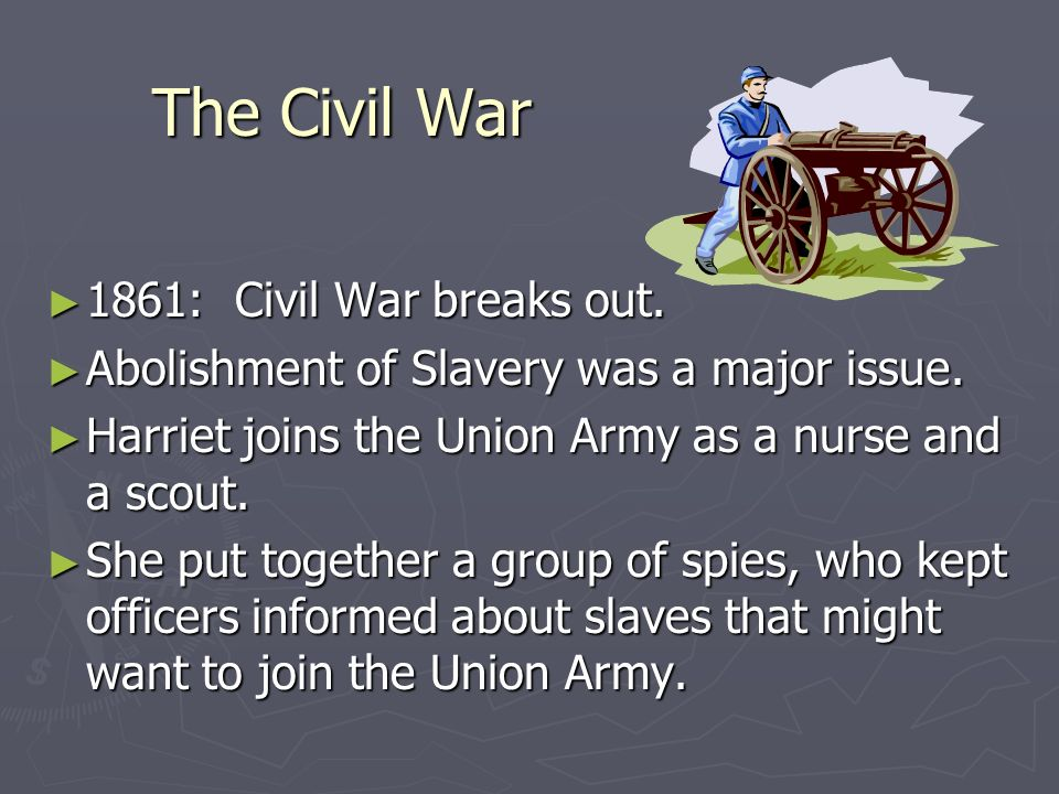 The Civil War 1861: Civil War breaks out.