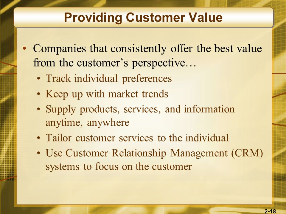 Providing Customer Value