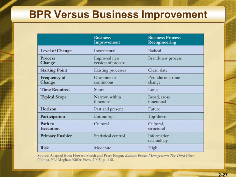 BPR Versus Business Improvement