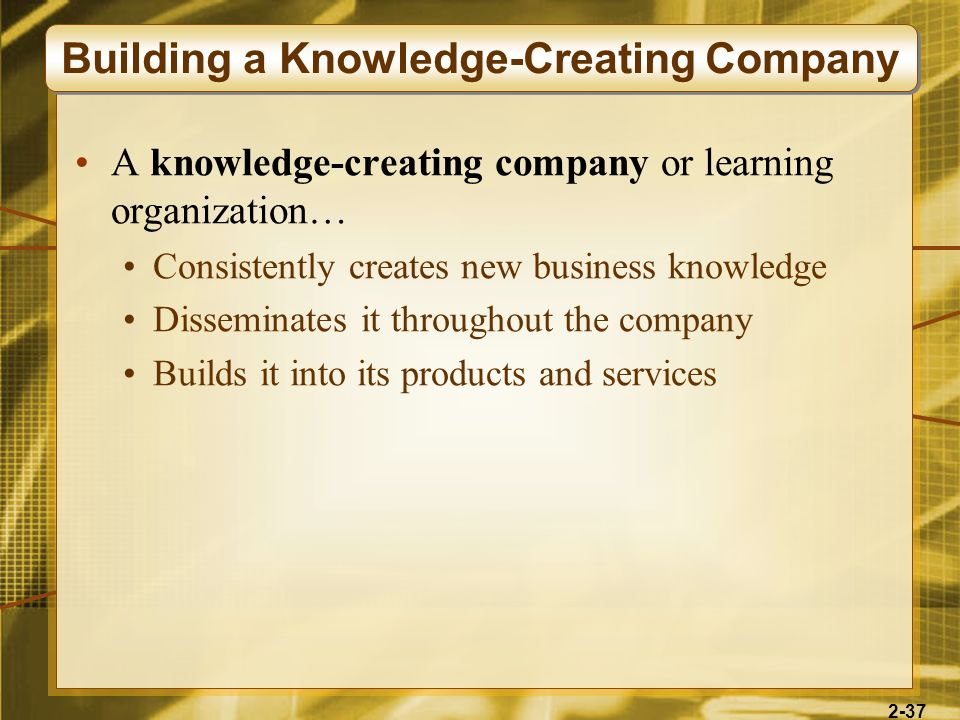 Building a Knowledge-Creating Company