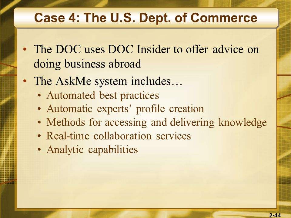 Case 4: The U.S. Dept. of Commerce