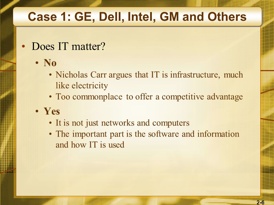 Case 1: GE, Dell, Intel, GM and Others