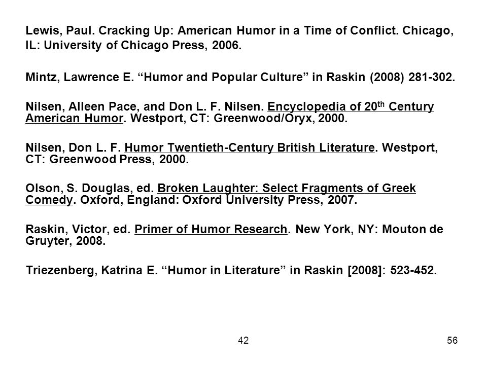 Lewis, Paul. Cracking Up: American Humor in a Time of Conflict