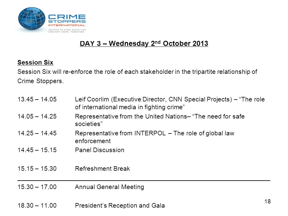 DAY 3 – Wednesday 2nd October 2013