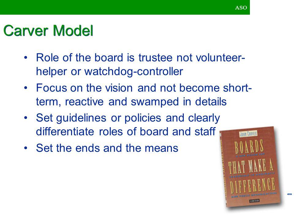 ASO Carver Model. Role of the board is trustee not volunteer-helper or watchdog-controller.