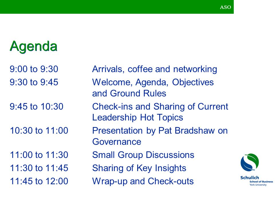 Agenda 9:00 to 9:30 Arrivals, coffee and networking