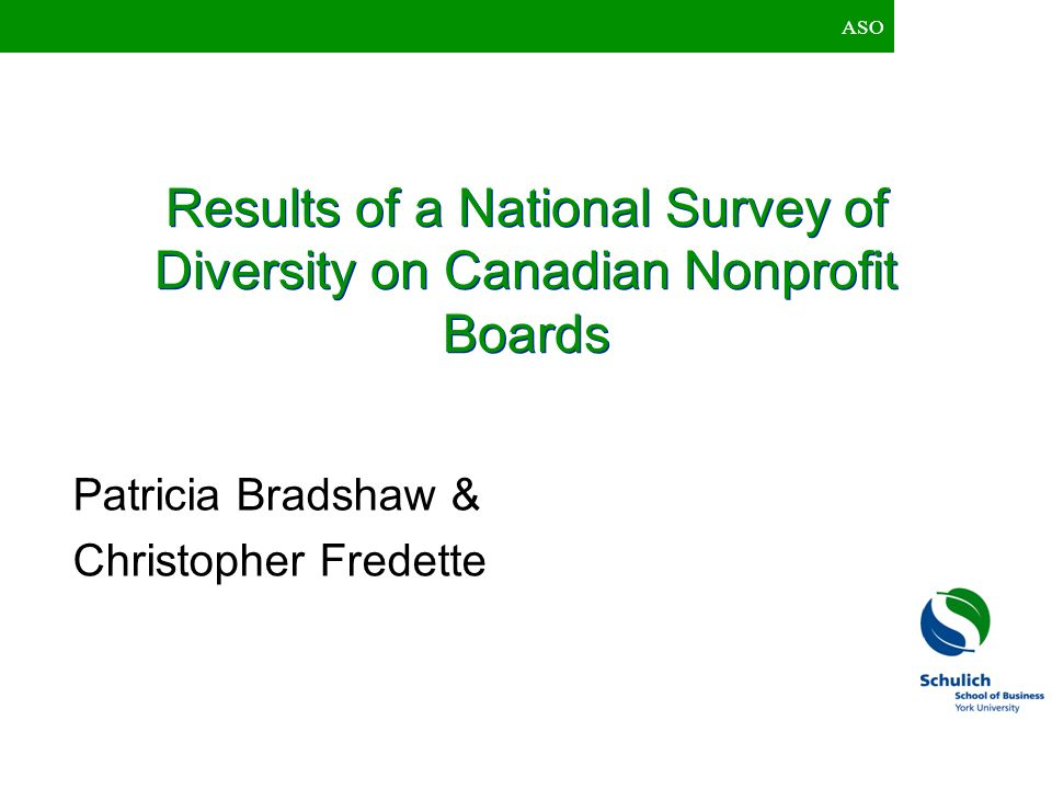 Results of a National Survey of Diversity on Canadian Nonprofit Boards