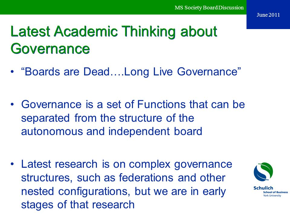 Latest Academic Thinking about Governance