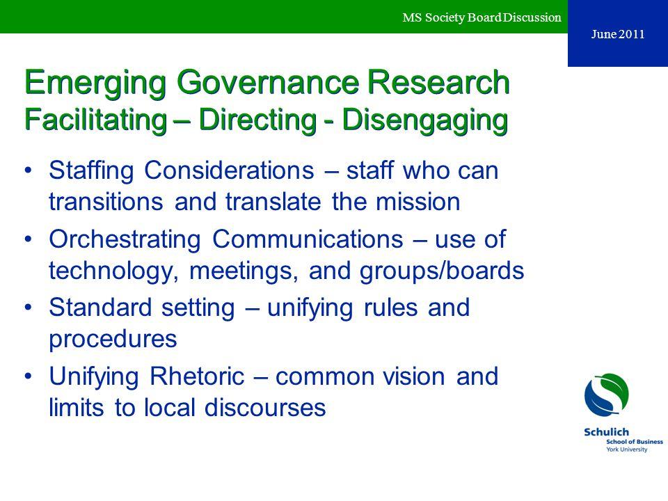 Emerging Governance Research Facilitating – Directing - Disengaging