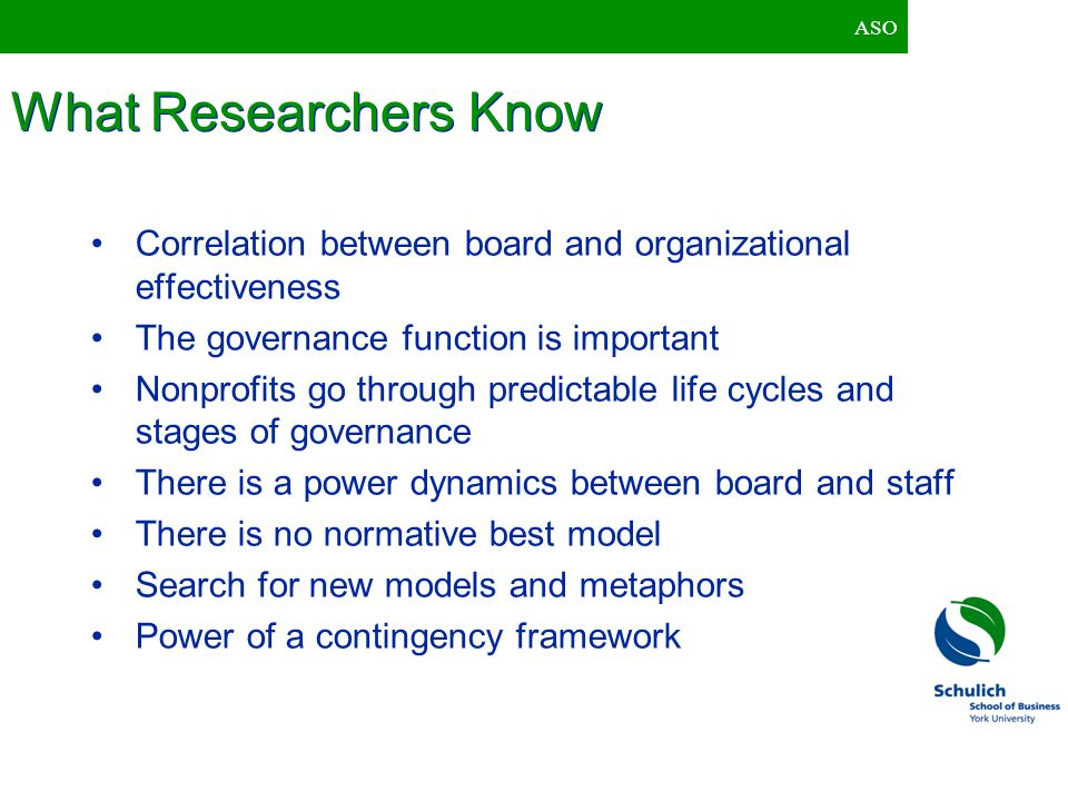 ASO What Researchers Know. Correlation between board and organizational effectiveness. The governance function is important.
