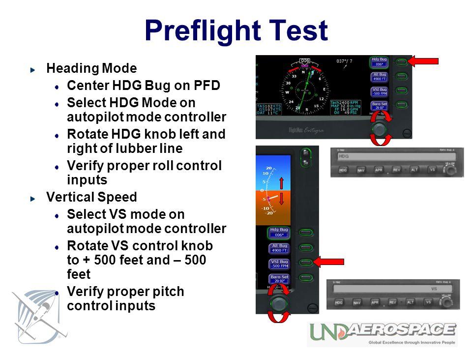 Preflight Test Heading Mode Center HDG Bug on PFD