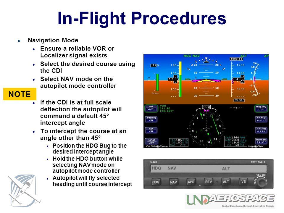 In-Flight Procedures NOTE Navigation Mode