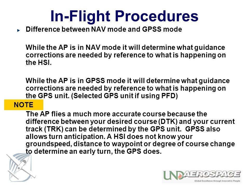 In-Flight Procedures Difference between NAV mode and GPSS mode