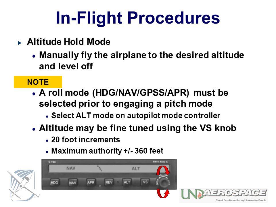 In-Flight Procedures Altitude Hold Mode