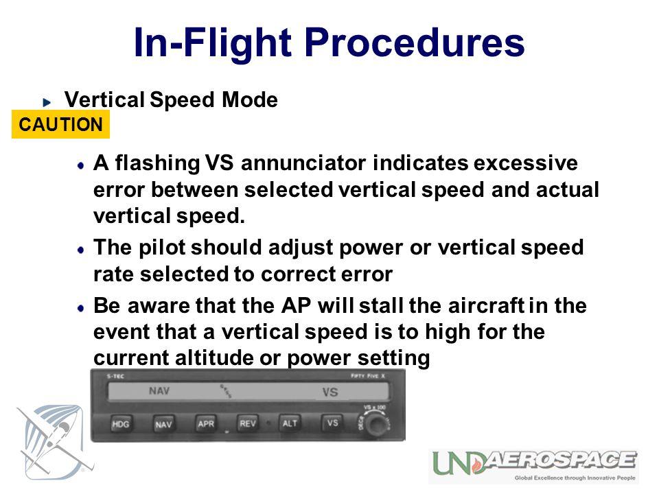 In-Flight Procedures Vertical Speed Mode