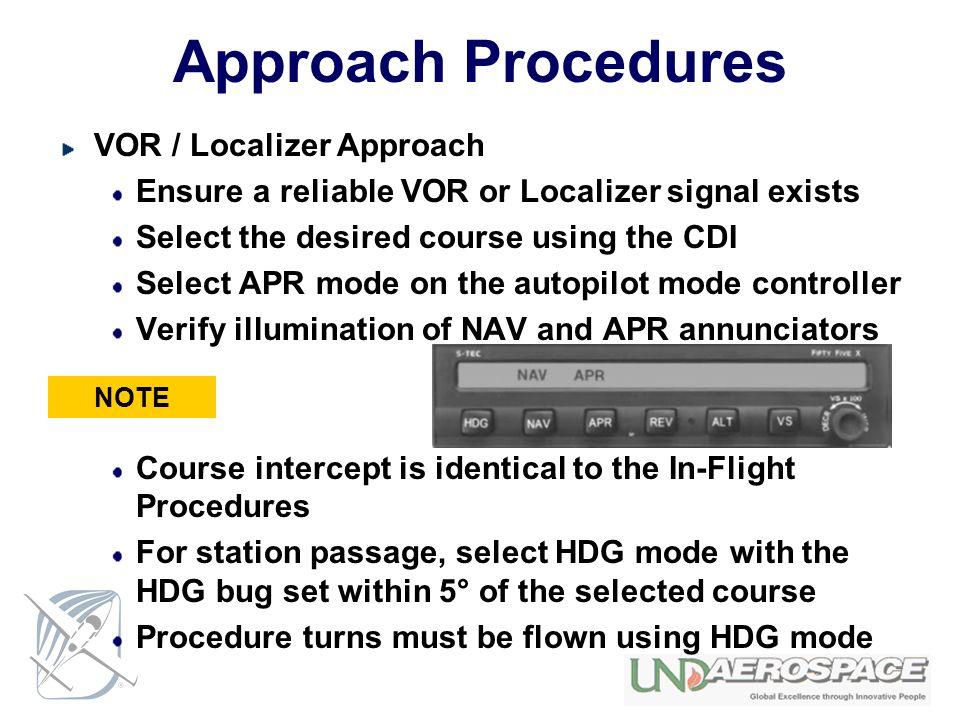 Approach Procedures VOR / Localizer Approach