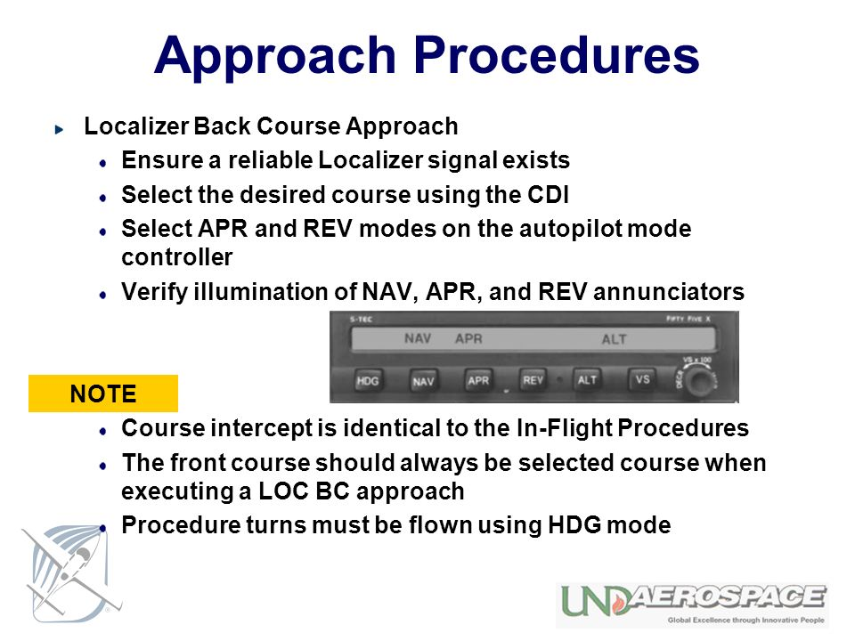 Approach Procedures Localizer Back Course Approach