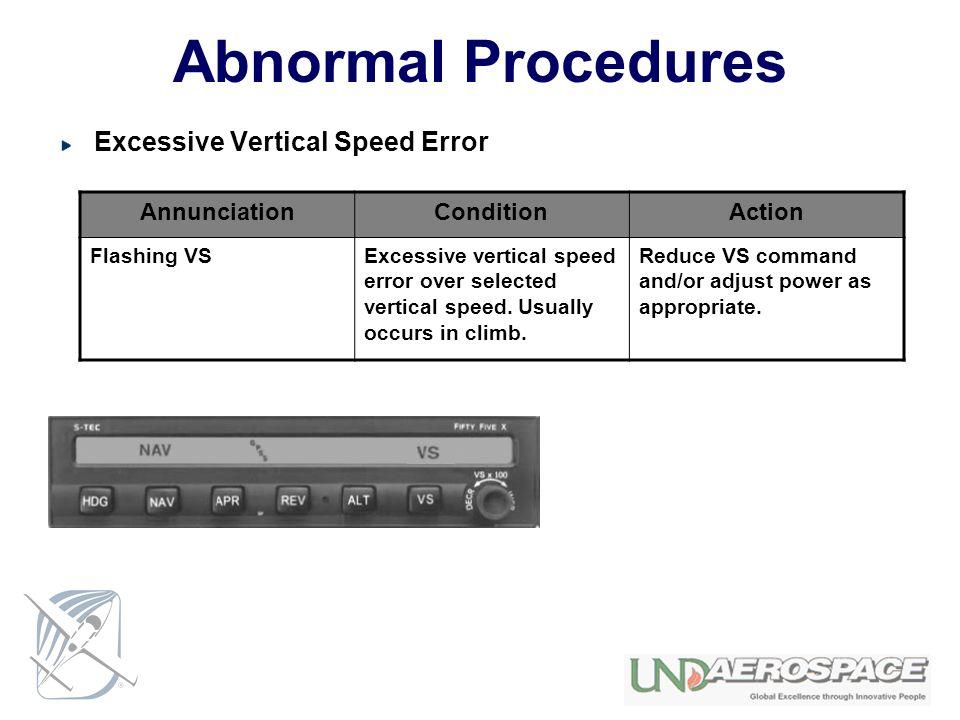 Abnormal Procedures Excessive Vertical Speed Error Annunciation