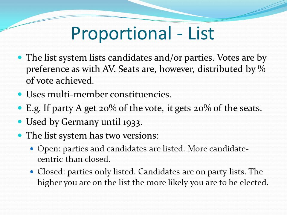 Proportional - List