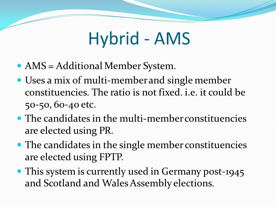 Hybrid - AMS AMS = Additional Member System.