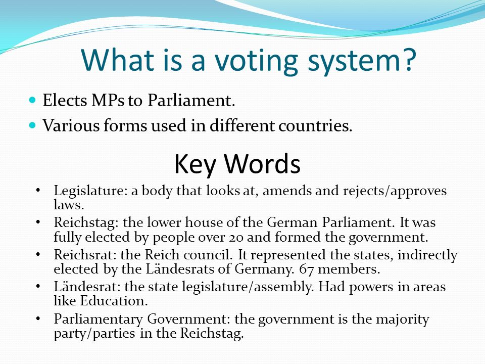 What is a voting system Key Words Elects MPs to Parliament.