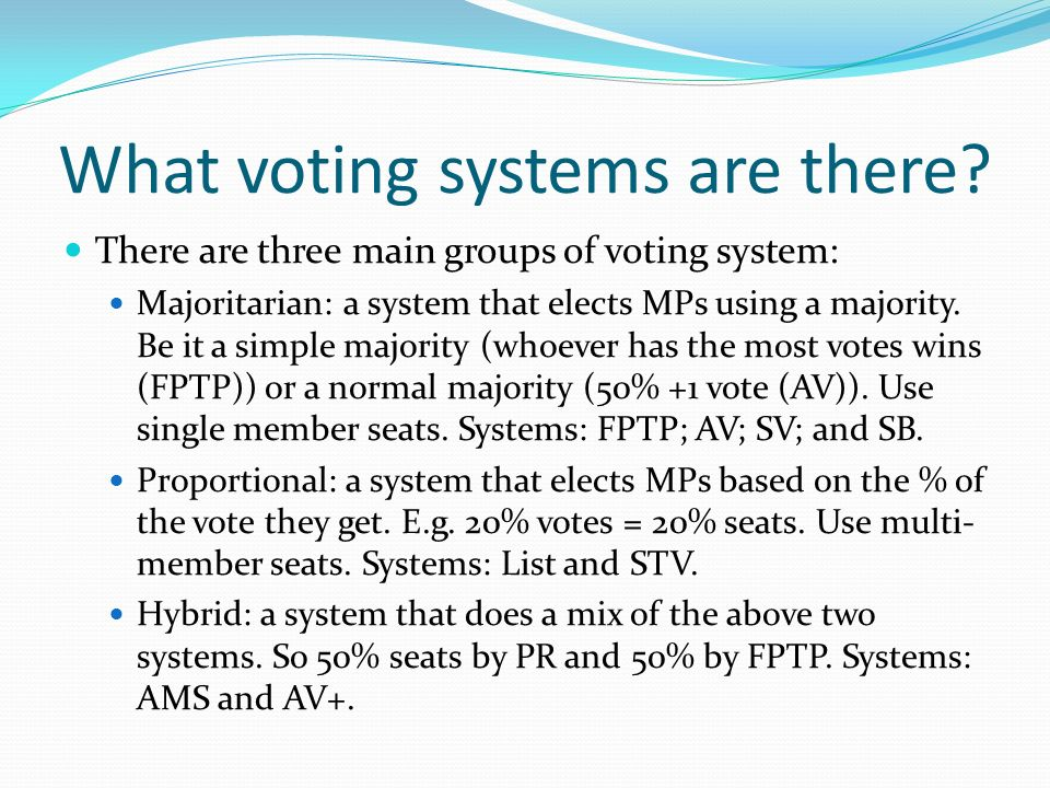 What voting systems are there