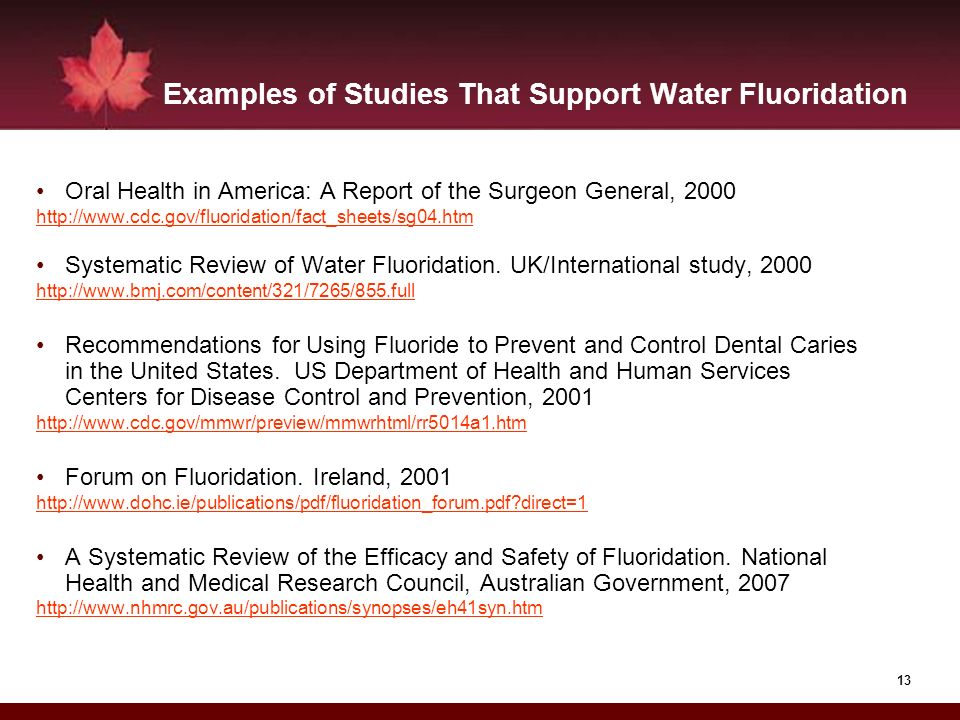 Examples of Studies That Support Water Fluoridation
