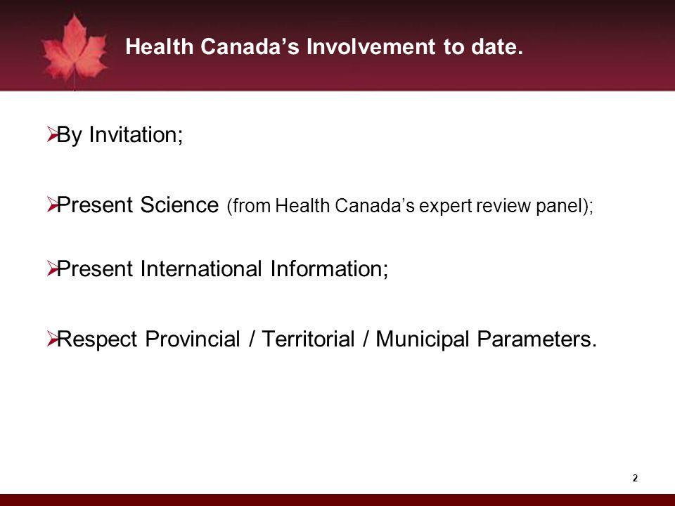 Health Canada's Involvement to date.