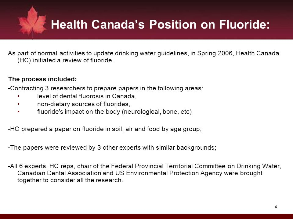 Health Canada's Position on Fluoride: