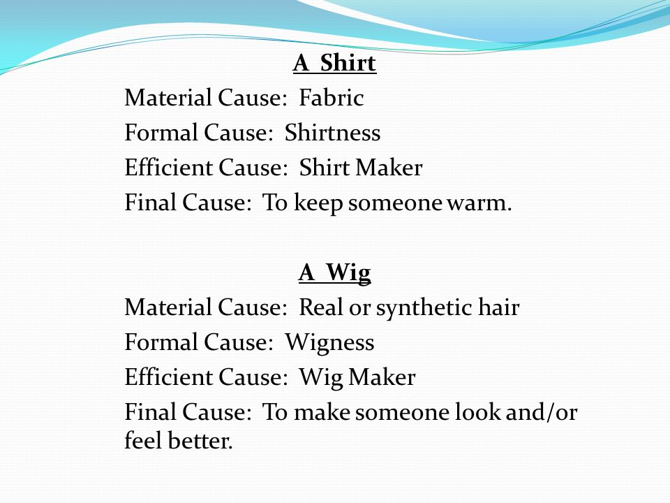 A Shirt Material Cause: Fabric Formal Cause: Shirtness Efficient Cause: Shirt Maker Final Cause: To keep someone warm.